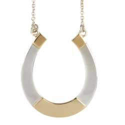 Large Silver and Gold Horseshoe Pendant