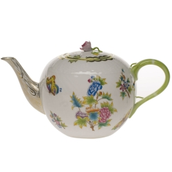 Queen Victoria Green 84 Ounce Tea Pot with Rose