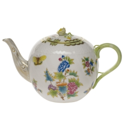 Queen Victoria Green 60 Ounce Tea Pot with Rose