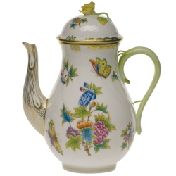 Queen Victoria Green 60 Ounce Coffee Pot with Rose