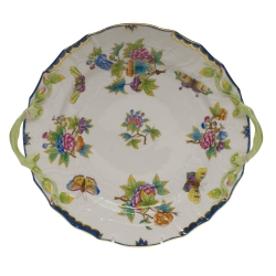 Queen Victoria Blue Chop Plate with Handles