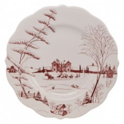 Country Estate Winter Frolic Ruby Scalloped Dinner Plate