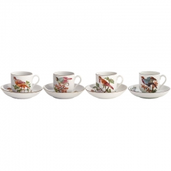Chelsea Bird Set of Four Tea Cups and Saucers