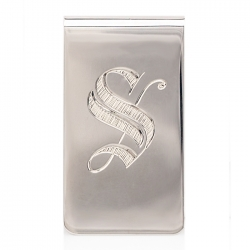 Sterling Silver Money Clip with Hand Engraved