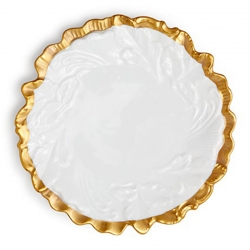 Anna's Golden Patina Embossed Leaf Plate