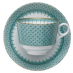 Green Lace Teacup and Saucer