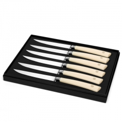 Set of Six Ivory Resin Handled Steak Knives