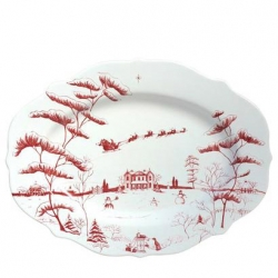 Country Estate Winter Frolic Ruby Serving Platter