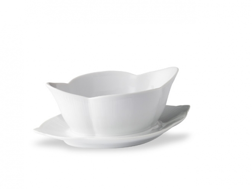 White Fluted Gravy Boat With Stand Lv Harkness Amp Company