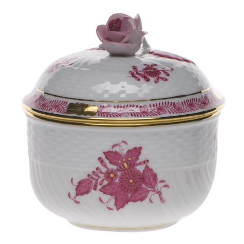 Chinese Bouquet Raspberry 4 Ounce Covered Sugar With Rose