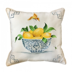 Hand Painted Lemons in Bowl Pillow