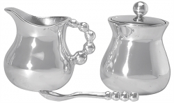 String of Pearls Creamer, Sugar and Spoon Set