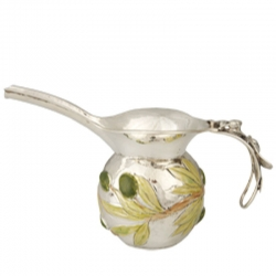 Sterling Silver and Enameled Jug with Olives