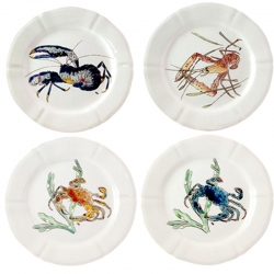 Grand Crustaces Set of Four Dinner Plates