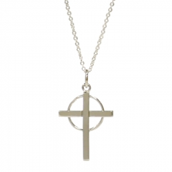 Sterling Silver Cross in Circle Pendant