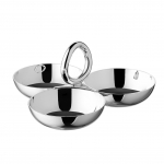 Veritgo Silver Plated Cocktail Server with Three Bowls, Small