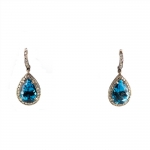 Blue Topaz and Diamond Teardrop Earrings