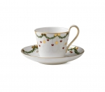 Star Fluted Christmas High Handle Cup and Saucer