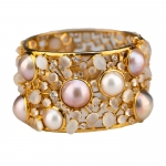 Moonstone, Pearl and White Sapphire Bangle