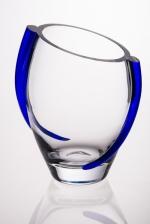 Glass Vase with Cobalt Swirl