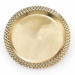 Helios Gold Tone Metal Large Roud Serving Tray