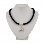 Sterling Silver Travelling Horse Pendant on Black Onyx Collar