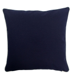 Large Navy Pillow with Natural Trim