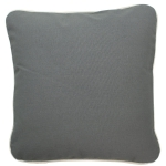 Large Gray Pillow with Natural Trim