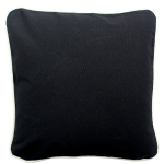 Large Black Pillow with Natural Trim