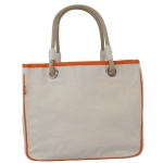 Natural Rope Tote with Orange Trim