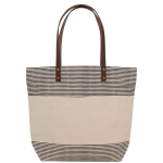 Handled Casual Tote, Natural & Grey