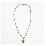 Silver Hammered Disc Necklace with Cubic Zirconia