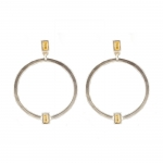 Silver Hoop Post Earrings with Cubic Zirconia