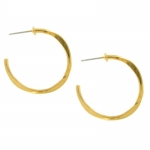 Medium Gold Hammered Hoop Earrings