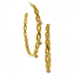 Gold Twisted Link Earrings with Cubic Zirconia