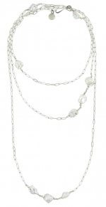 Silver Opera Pearl Necklace