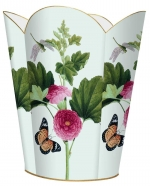 Pink Peony & Butterfly Tin Wastepaper Basket