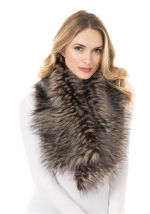 Spotted Wolf Faux Fur Clip Scarf