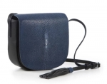 Navy Shagreen Crossbody Bag
