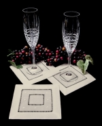 Ecru Swiss Dot Cocktail Napkins, Set of 4