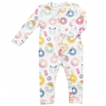 Donut Smiles Ruffle Front Zip Romper, 3-6 Months