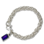 Byzantine Link Bracelet with Purple Tag