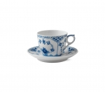 Blue Fluted Half Lace Coffee Cup and Saucer