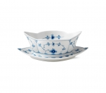 Blue Fluted Plain Gravy Boat with Stand