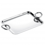 Vertigo Silver Plated Small Rectangular Tray with Two Handles