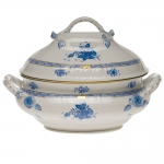 Chinese Bouquet Blue 4 Quart Tureen With Branch Handles