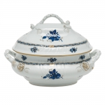 Chinese Bouquet Black Sapphire Tureen with Branch Handles