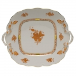 Chinese Bouquet Rust Square Cake with Handles