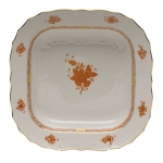 Chinese Bouquet Rust Square Fruit Dish
