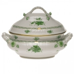 Chinese Bouquet Green 4 Quart Tureen with Branch Handles